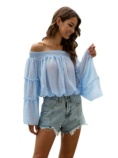 Color=Sky Blue | Sexy Off Shoulder With Kimno Sleeves Outfit Blouse For Women-Sky Blue 1
