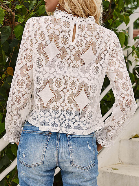 Color=White | Sexy Crew Neck Long Sleeves See-Through Blouses-White 2