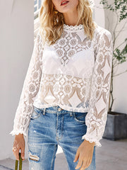 Color=White | Sexy Crew Neck Long Sleeves See-Through Blouses-White 3