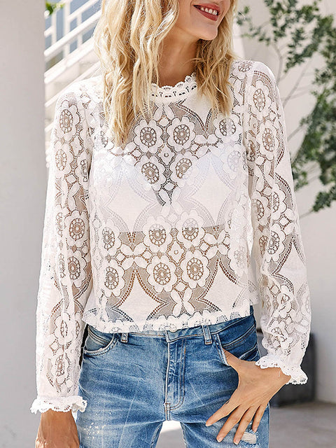 Color=White | Sexy Crew Neck Long Sleeves See-Through Blouses-White 4