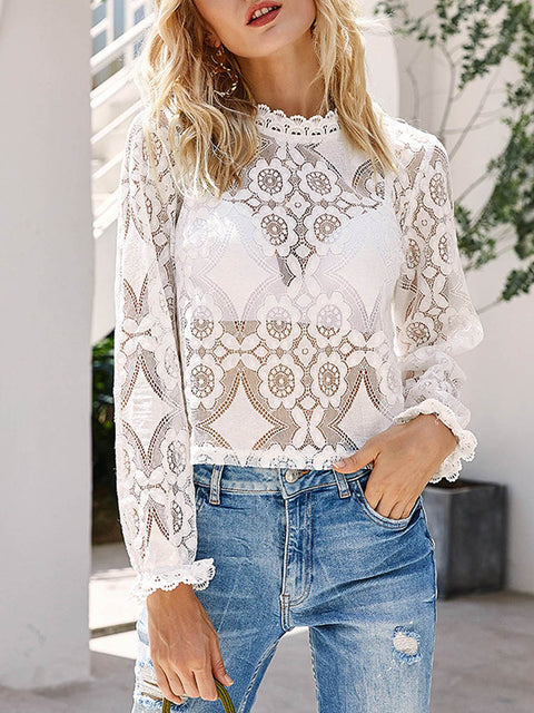 Color=White | Sexy Crew Neck Long Sleeves See-Through Blouses-White 1