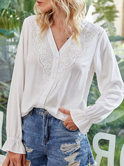 Color=White | Elegant Deep V-Neck Long Sleeves Blouses With Lace-White 3
