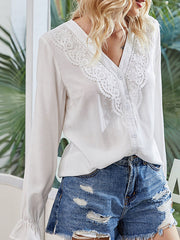 Color=White | Elegant Deep V-Neck Long Sleeves Blouses With Lace-White 4