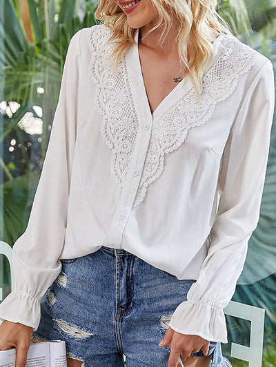Color=White | Elegant Deep V-Neck Long Sleeves Blouses With Lace-White 1