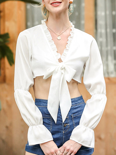 Color=White | Unique Deep V-Neck Long Bubble Sleeves Crop Tops-White 1