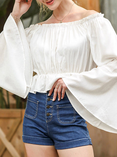 Color=White | Gorgeous Off-Shoulder Long Kimono Sleeves Blouses-White 1