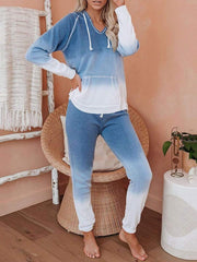 Color=Sky Blue | Fashion Tie-Dye Loungewear Set For Women With Pocket-Sky Blue 2