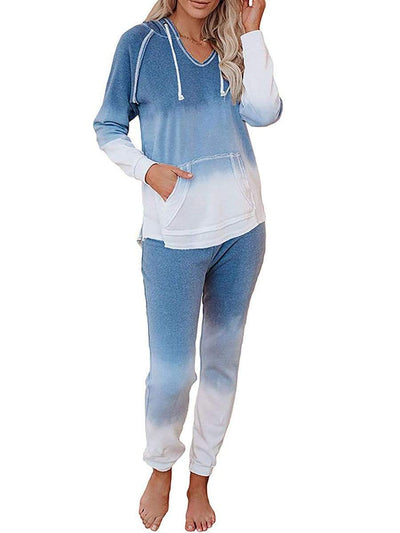 Color=Sky Blue | Fashion Tie-Dye Loungewear Set For Women With Pocket-Sky Blue 1