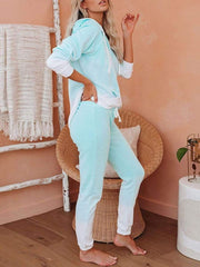Color=Mint Green | Fashion Tie-Dye Loungewear Set For Women With Pocket-Mint Green 2