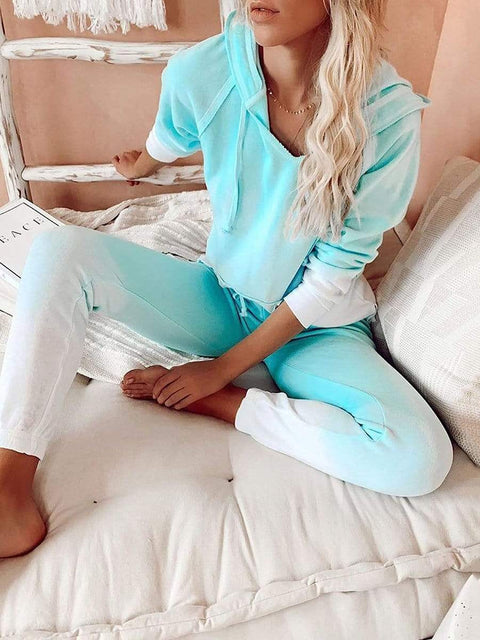 Color=Mint Green | Fashion Tie-Dye Loungewear Set For Women With Pocket-Mint Green 3