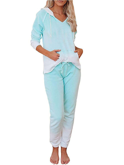 Color=Mint Green | Fashion Tie-Dye Loungewear Set For Women With Pocket-Mint Green 1