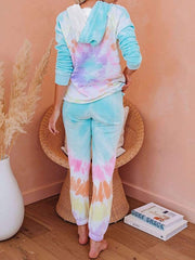 Color=Tie-dye Pink | Fashion Tie-Dye Loungewear Set For Women With Pocket-Tie-dye Pink 4