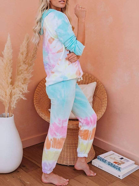 Color=Tie-dye Pink | Fashion Tie-Dye Loungewear Set For Women With Pocket-Tie-dye Pink 2