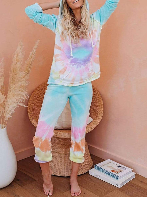 Color=Tie-dye Pink | Fashion Tie-Dye Loungewear Set For Women With Pocket-Tie-dye Pink 3