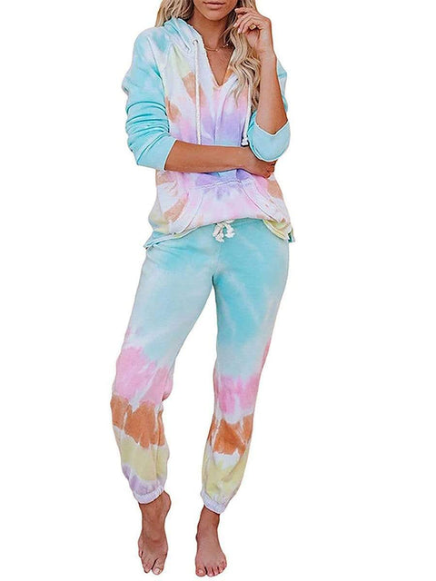 Color=Tie-dye Pink | Fashion Tie-Dye Loungewear Set For Women With Pocket-Tie-dye Pink 1