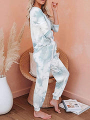 Color=Light Blue | Feminine Tie-Dye Loungewear Track Suit For Sports-Light Blue 3