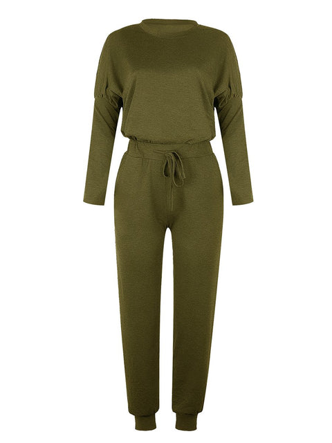 Color=Dark Green | Comfy Solid Color Trainings Sets With Sweatpants-Dark Green 2