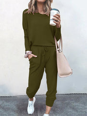 Color=Dark Green | Comfy Solid Color Trainings Sets With Sweatpants-Dark Green 1
