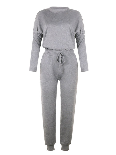 Color=Grey | Comfy Solid Color Trainings Sets With Sweatpants-Grey 2