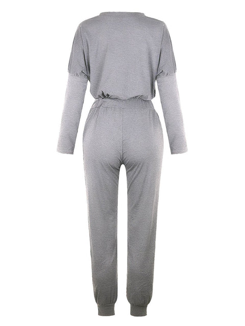 Color=Grey | Comfy Solid Color Trainings Sets With Sweatpants-Grey 3