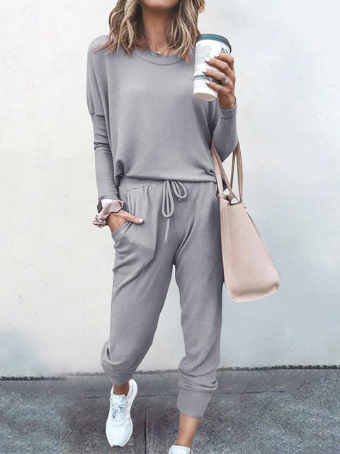 Color=Grey | Comfy Solid Color Trainings Sets With Sweatpants-Grey 1