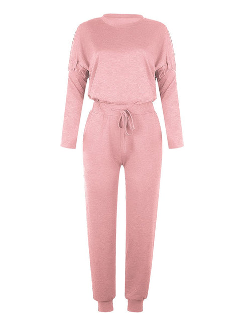 Color=Pink | Comfy Solid Color Trainings Sets With Sweatpants-Pink 2