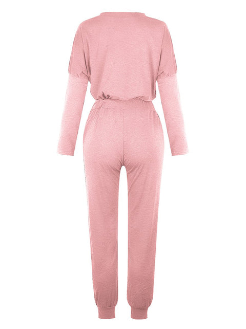 Color=Pink | Comfy Solid Color Trainings Sets With Sweatpants-Pink 3
