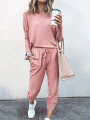 Color=Pink | Comfy Solid Color Trainings Sets With Sweatpants-Pink 1