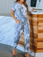 Color=Sky Blue | Classy Short Sleeves & Sweatpants Tie-Dye Pajamas Sets-Sky Blue 3