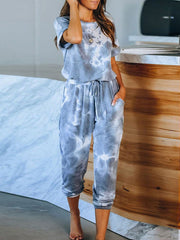 Color=Sky Blue | Classy Short Sleeves & Sweatpants Tie-Dye Pajamas Sets-Sky Blue 1
