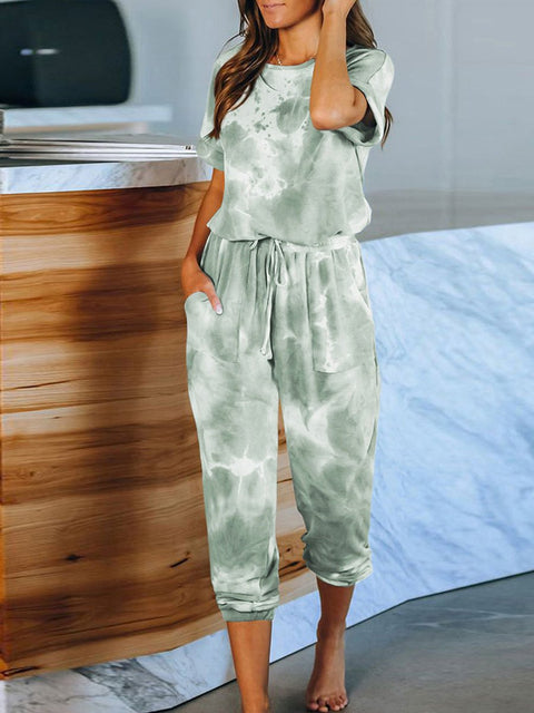 Color=Green | Classy Short Sleeves & Sweatpants Tie-Dye Pajamas Sets-Green 2