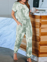 Color=Green | Classy Short Sleeves & Sweatpants Tie-Dye Pajamas Sets-Green 3