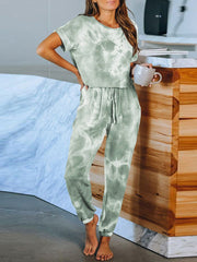 Color=Green | Classy Short Sleeves & Sweatpants Tie-Dye Pajamas Sets-Green 1