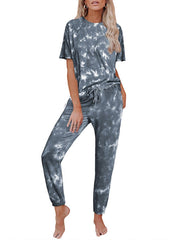 Color=Grey | Classy Short Sleeves & Sweatpants Tie-Dye Pajamas Sets-Grey 1