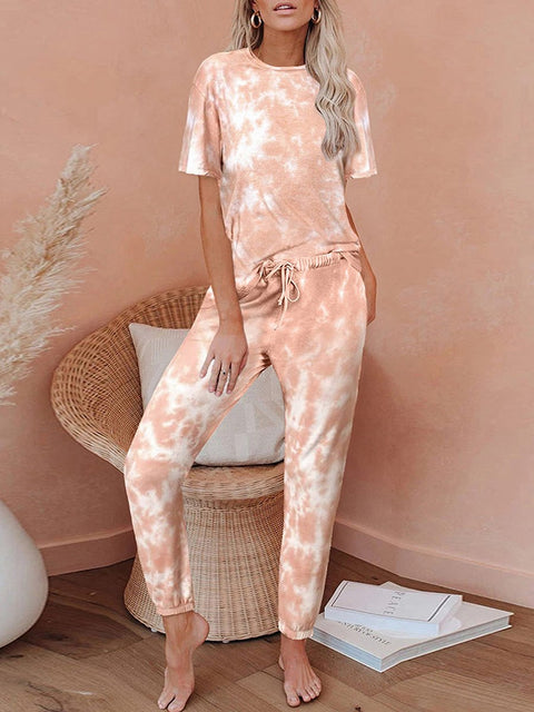 Color=Orange | Classy Short Sleeves & Sweatpants Tie-Dye Pajamas Sets-Orange 1