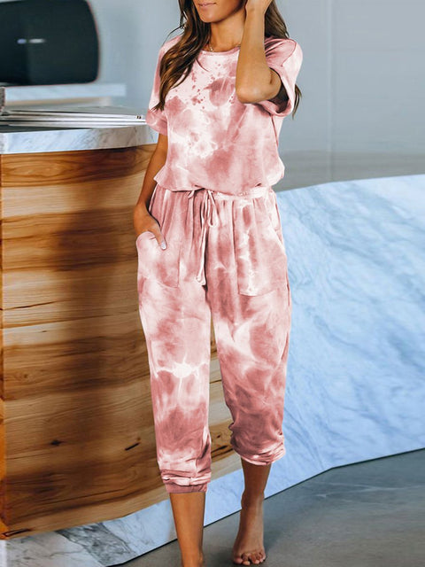 Color=Red | Classy Short Sleeves & Sweatpants Tie-Dye Pajamas Sets-Red 4