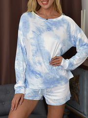 Color=Sky Blue | Fashion Tie-Dye Home Wear Casual Pajamas Set With Long Sleeves-Sky Blue 3