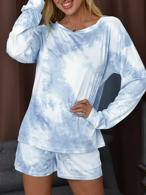 Color=Sky Blue | Fashion Tie-Dye Home Wear Casual Pajamas Set With Long Sleeves-Sky Blue 4