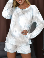 Color=Grey | Fashion Tie-Dye Home Wear Casual Pajamas Set With Long Sleeves-Grey 2