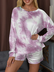 Color=Hot Pink | Fashion Tie-Dye Home Wear Casual Pajamas Set With Long Sleeves-Hot Pink 1