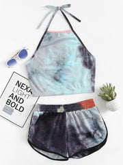 Color=Grey | Printed Shorts Backless Casual Sexy Tie-Dye Suspenders Two-Piece Suit-Grey 1