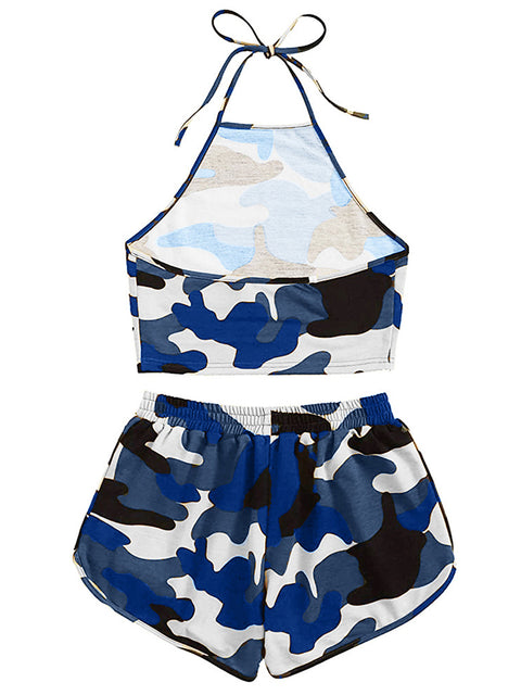 Color=Navy Blue | Printed Shorts Backless Casual Sexy Tie-Dye Suspenders Two-Piece Suit-Navy Blue 2