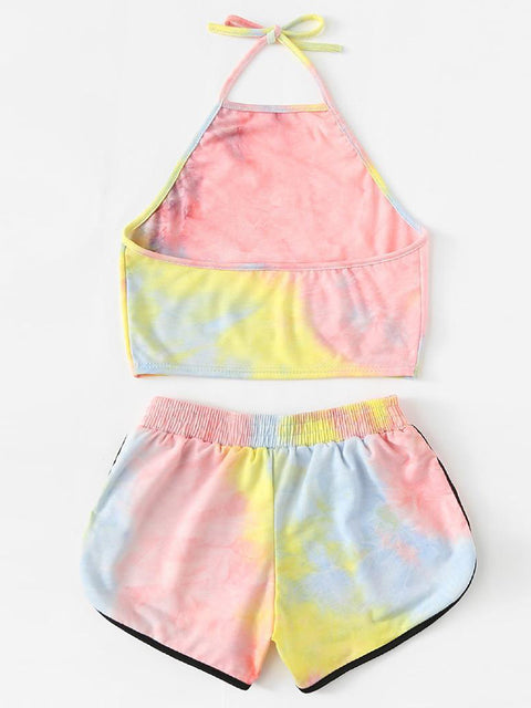 Color=Pink | Printed Shorts Backless Casual Sexy Tie-Dye Suspenders Two-Piece Suit-Pink 2
