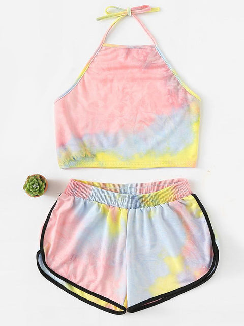 Color=Pink | Printed Shorts Backless Casual Sexy Tie-Dye Suspenders Two-Piece Suit-Pink 1