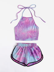 Color=Purple | Printed Shorts Backless Casual Sexy Tie-Dye Suspenders Two-Piece Suit-Purple 1