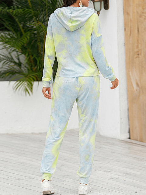 Color=Green | Tie-Dye Printed Women'S Pajama Suit Long Sleeve Hoodies & Trousers-Green 2