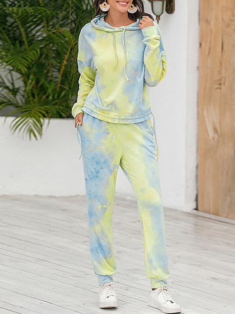 Color=Green | Tie-Dye Printed Women'S Pajama Suit Long Sleeve Hoodies & Trousers-Green 3