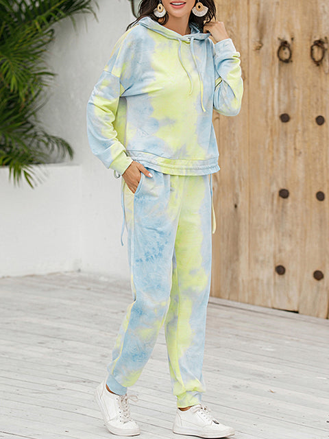 Color=Green | Tie-Dye Printed Women'S Pajama Suit Long Sleeve Hoodies & Trousers-Green 4