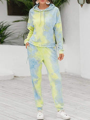 Color=Green | Tie-Dye Printed Women'S Pajama Suit Long Sleeve Hoodies & Trousers-Green 1