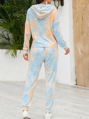 Color=Orange | Tie-Dye Printed Women'S Pajama Suit Long Sleeve Hoodies & Trousers-Orange 2